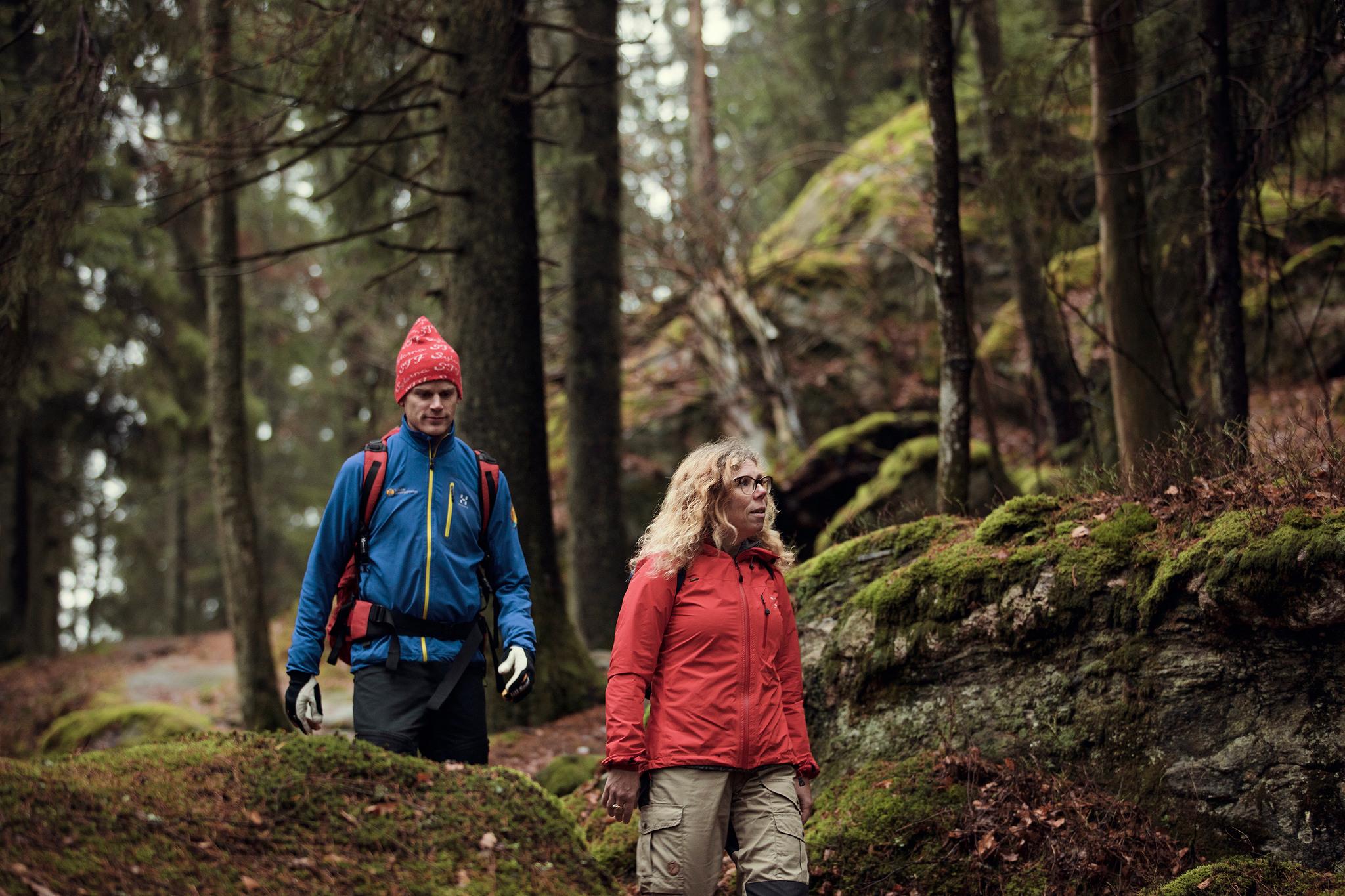 Två personer vandrar i en skog.