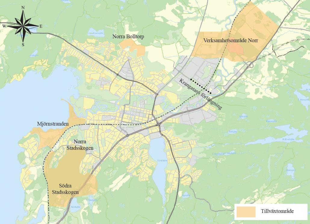 Karta över Alingsås tillväxtområden: Mjörnstranden, Norra Stadsskogen, Södra Stadsskogen, Verksamhetsområde Norr.