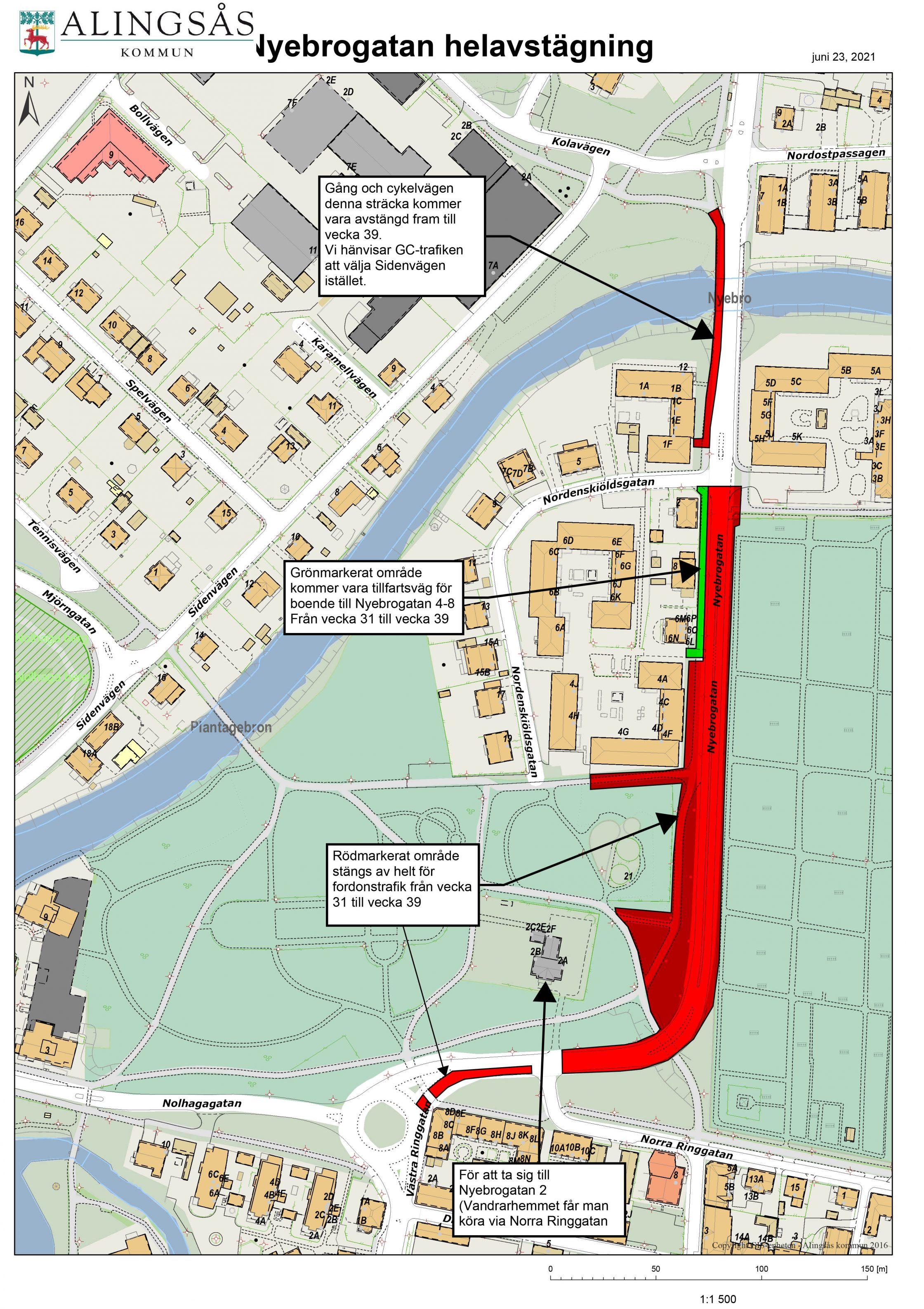 Karta över avstängning på Nyebrogatan