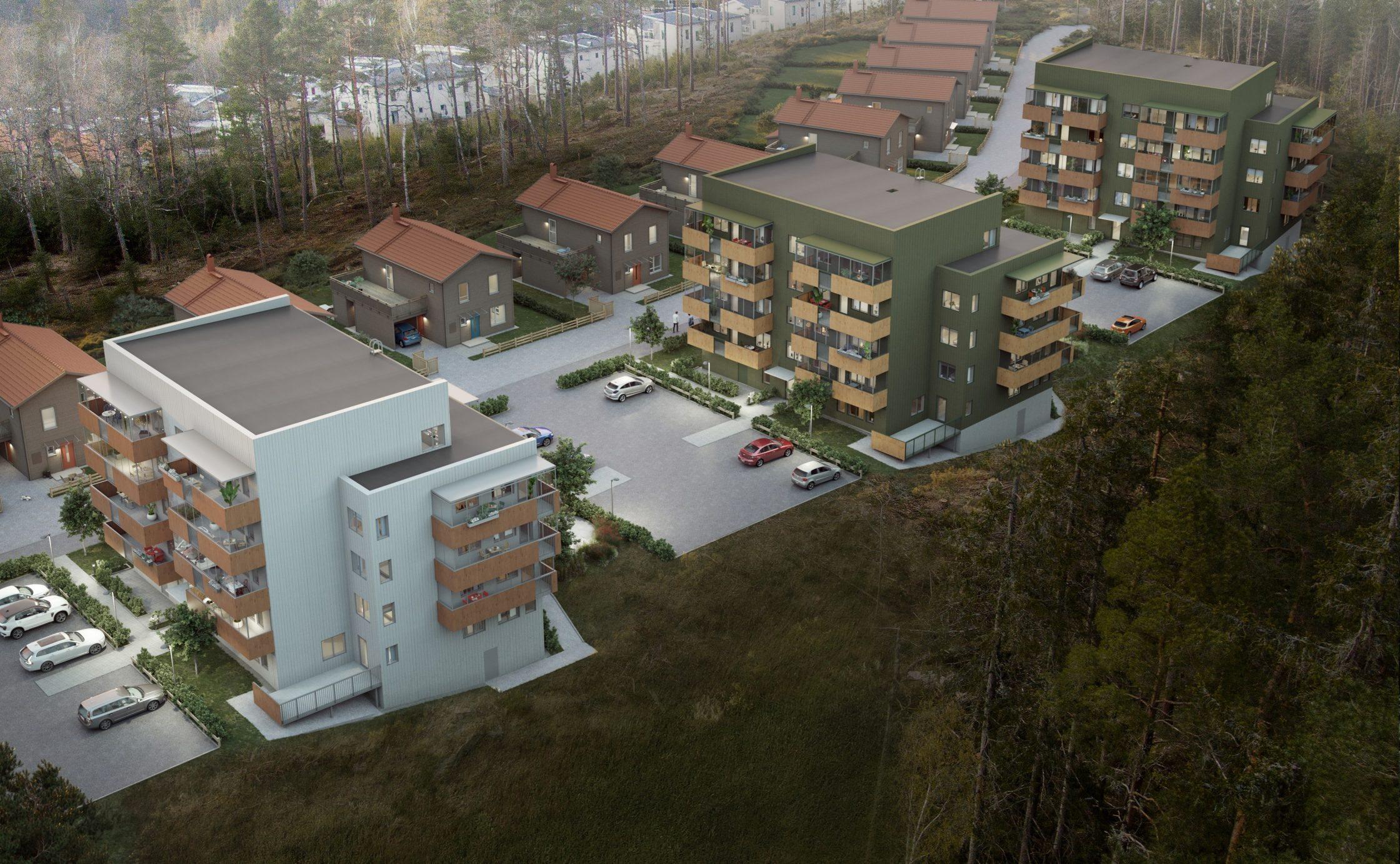 Illustration av det nya området på Bergkullegatan.