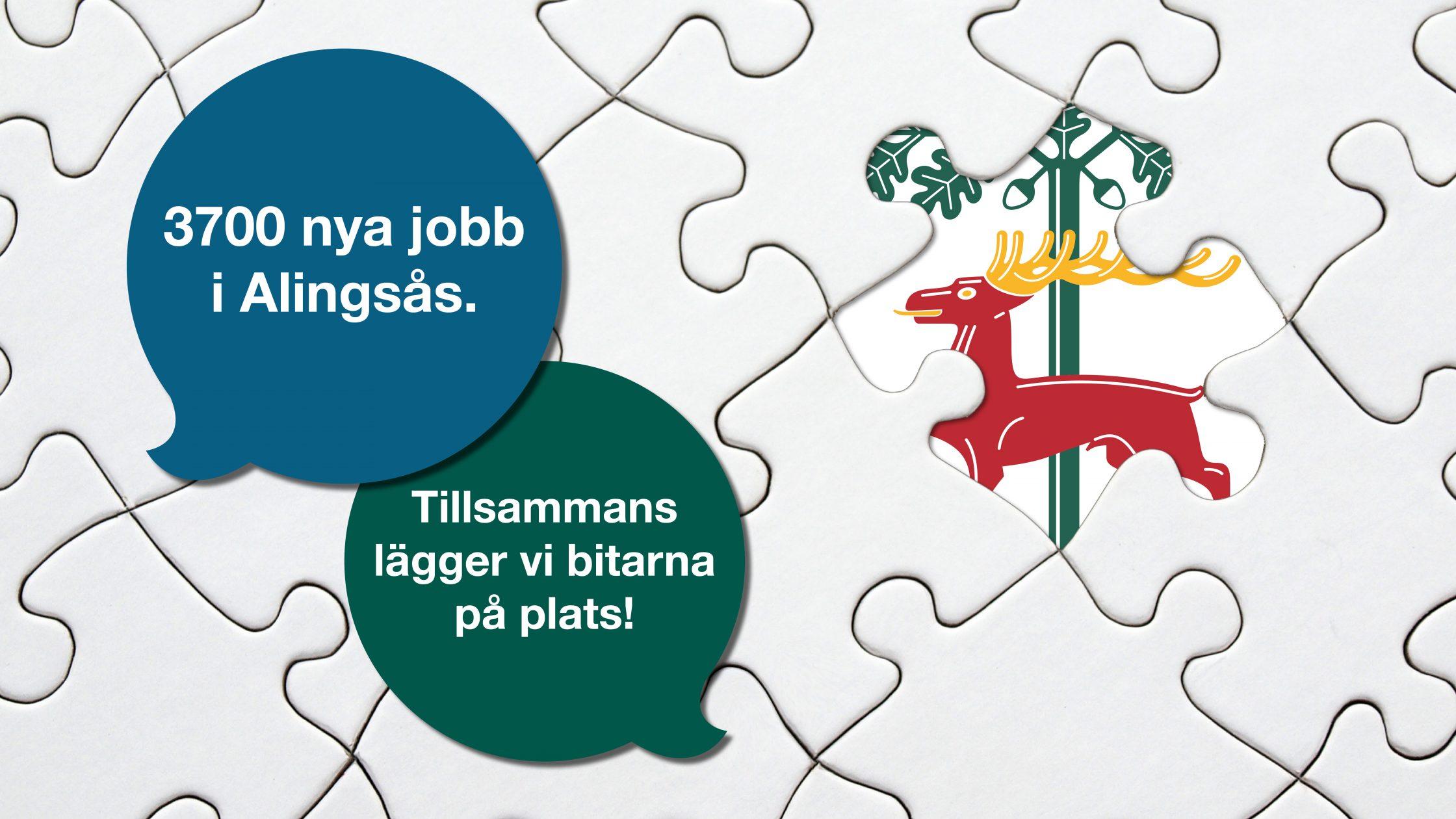 """Symbolisk bild med pusselrutor och pratbubblor som säger """"3700 nya jobb i Alingsås"""" och """"Tillsammans lägger vi bitarna på plats""""."""
